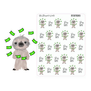 Payday Stickers - reminders - sloth stickers - pay day planner sticker - kawaii - stickers - planner stickers - cute sloth sticker - money - The Planner's World