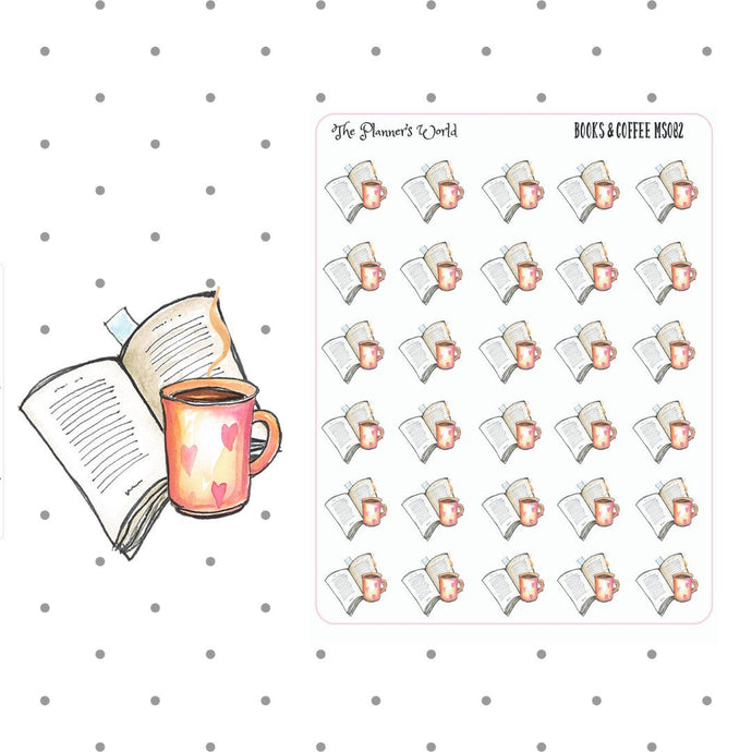 books & coffee stickers - The Planner's World