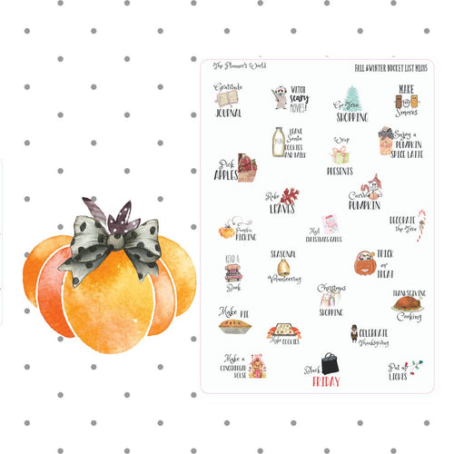 Autumn & Winter Bucket List planner stickers - The Planner's World