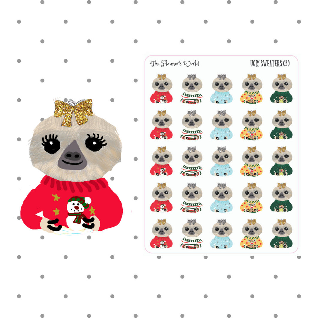 Ugly Sweater Moxie - planner stickers - winter - christmas stickers - christmas - sloth stickers - sloth - ugly sweater stickers