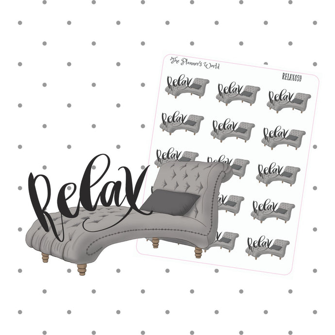 Relax stickers - Script Sticker - Text Stickers - planner stickers - me time - meditate - lazy day - weekend sticker - The Planner's World