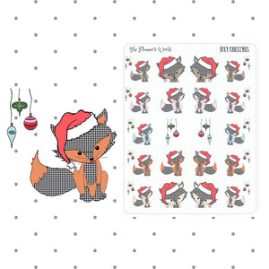 Foxy Christmas stickers - christmas fox - deco - christmas planner stickers - fox stickers - fox sheet - fox planner sticker - The Planner's World