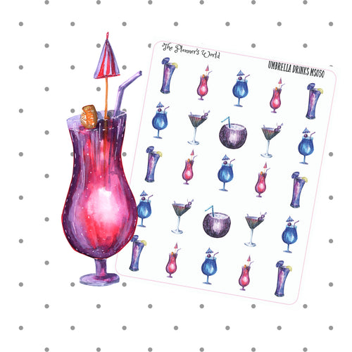 Umbrella Drinks Cocktail Drink Planner Stickers - The Planner's World