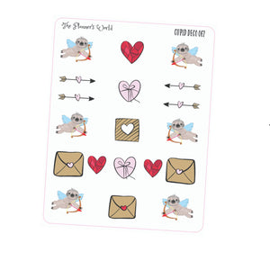 Cupid deco - planner stickers - sloth stickers - valentine - sticker - cupid - sloth - cute - planner sticker - The Planner's World