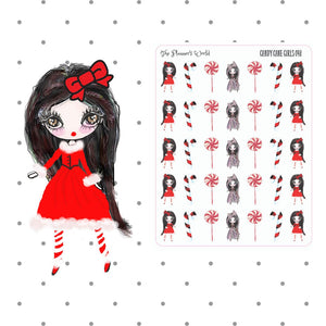Candy Cane Girls planner stickers - The Planner's World