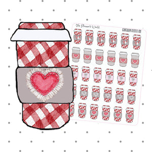 Gingham Plaid coffee cup planner stickers - The Planner's World