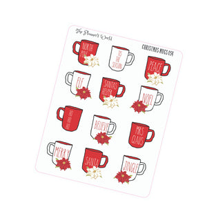 Holiday Christmas Mugs Stickers - The Planner's World