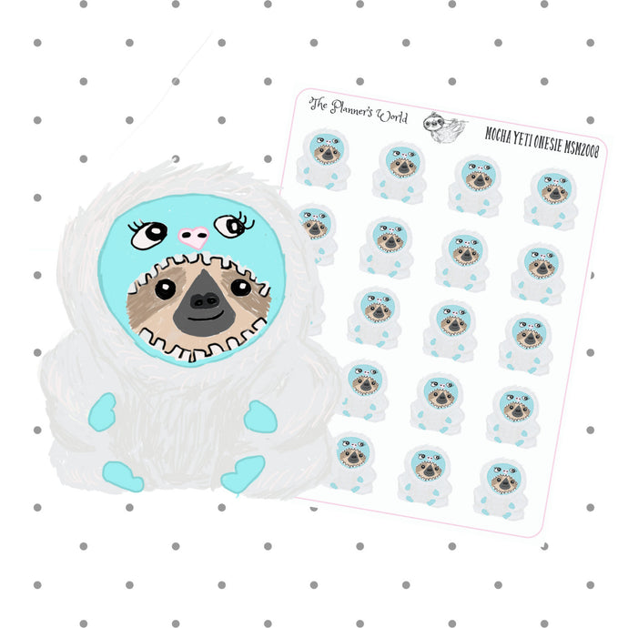 Sloth in a Yeti Onesie yeti planner stickers - The Planner's World