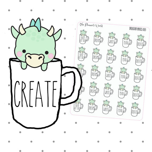 Cute Dunn Dragon Mugs planner stickers - The Planner's World