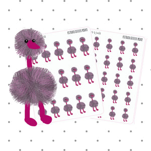 Ostrich Stickers - Planner Stickers - Kawaii - Ostrich - sticker - hand drawn sticker - bird - cute - bird sticker
