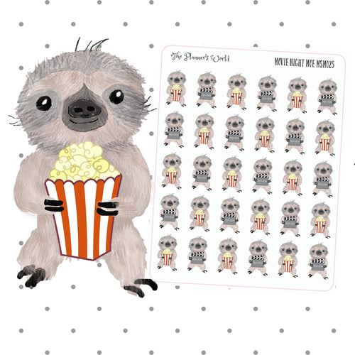 movie night moe the sloth planner stickers - The Planner's World