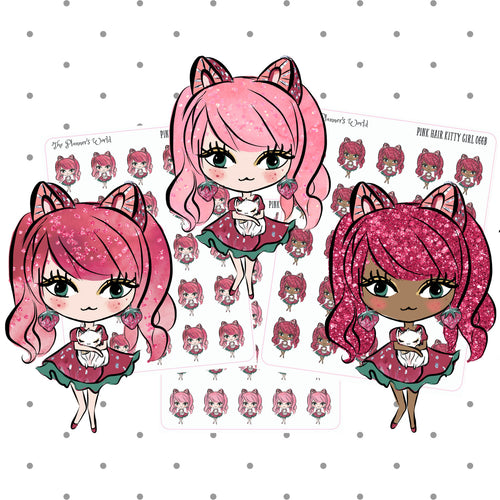 Pink Haired Kitty Girl sticker - The Planner's World