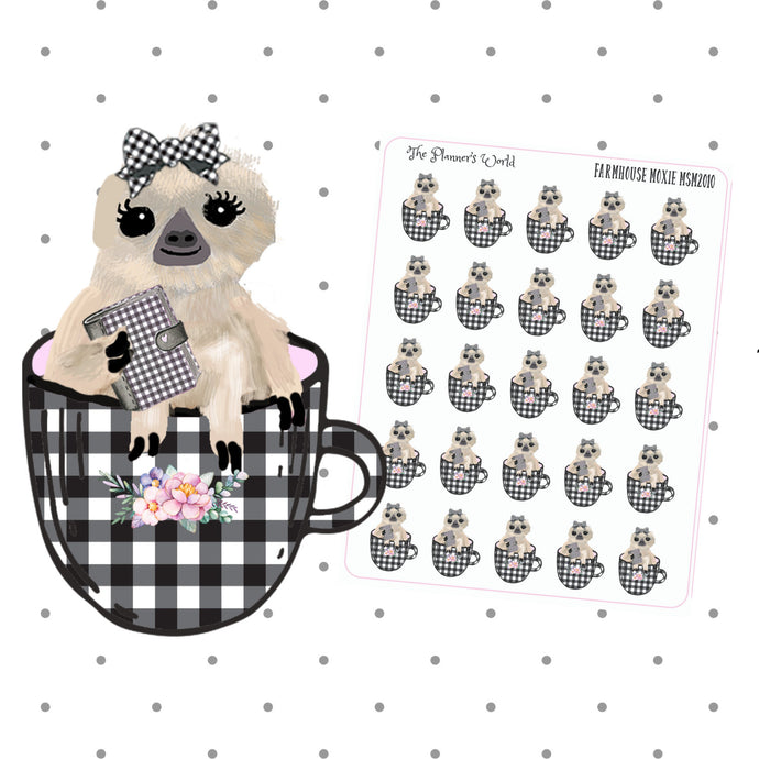 Farmhouse Moxie the sloth Planner nerd sticker - The Planner's World