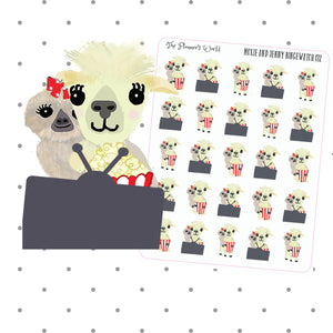 Binge Watch Moxie the sloth and Jenny the Llama tv planner Stickers - The Planner's World