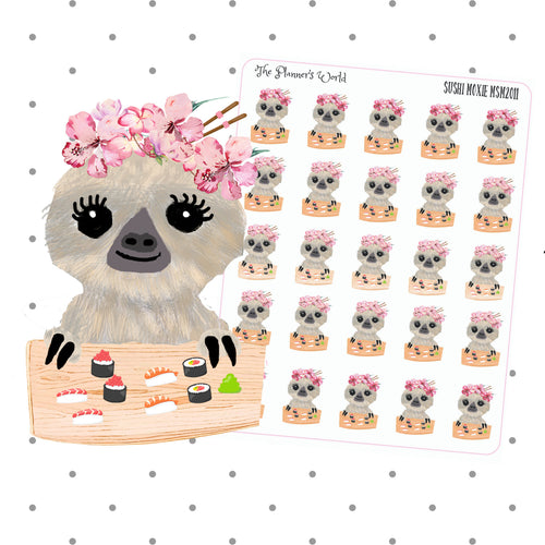 sushi stickers - sushi planner stickers - sloth stickers - doodle stickers - character stickers - dinner stickers - dinner planner sticker - The Planner's World