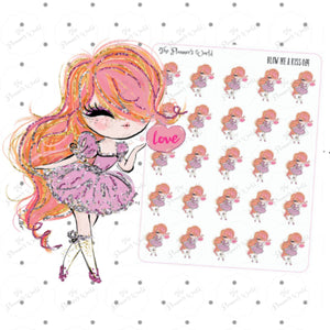 Blow me a kiss girl planner stickers - The Planner's World