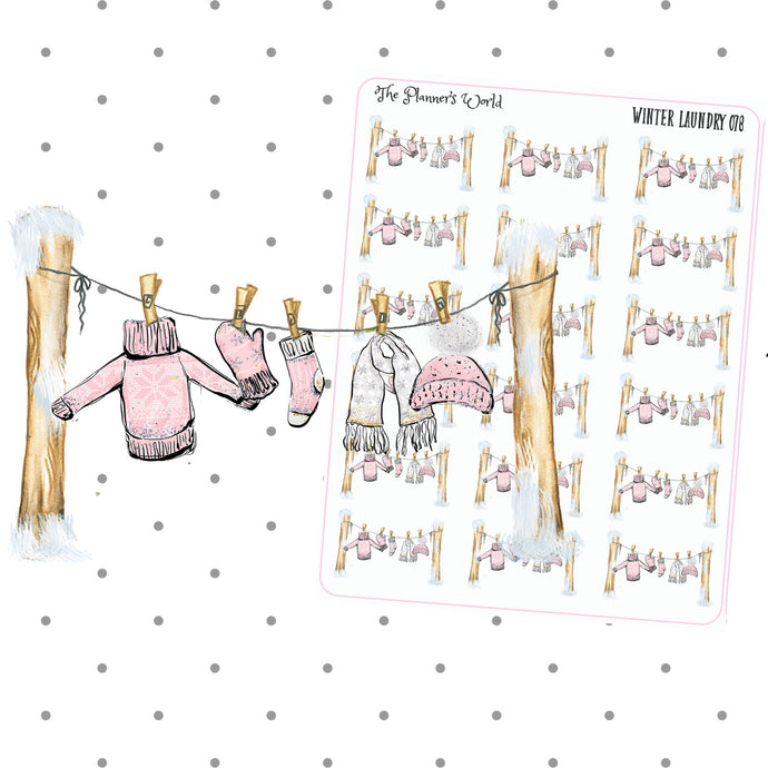 Winter Laundry Planner Stickers - The Planner's World