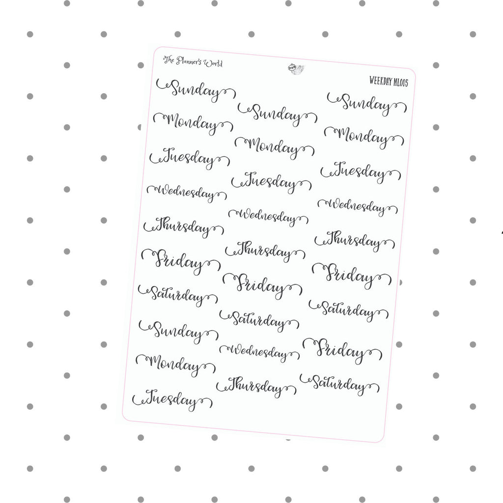 days of the week stickers - date cover weekday stickers - The Planner's World