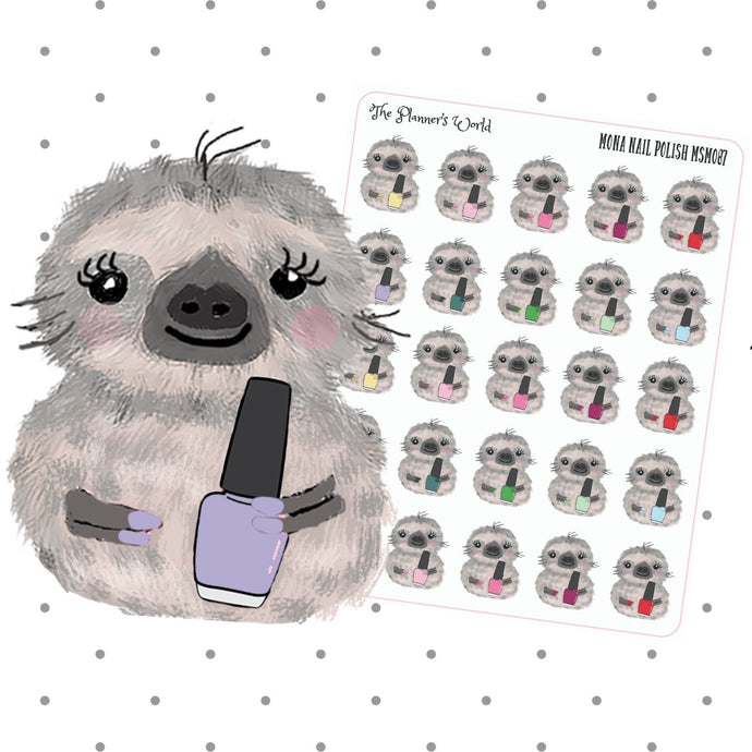 Mona the Sloth Manicure Stickers - The Planner's World