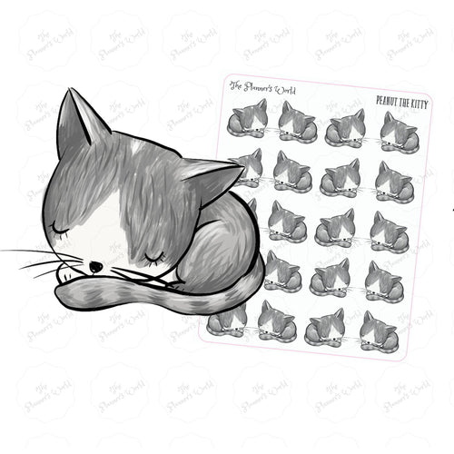 Peanut the kitty Sleeping planner stickers - The Planner's World