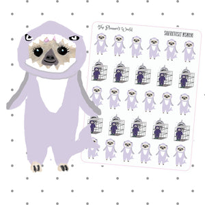 Shark week stickers - cute Sloth Sticker - period Planner Stickers - sloth onesie Stickers - Shark week stickers - Shark Planner Stickers - The Planner's World