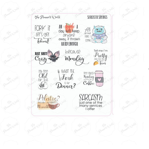 Sarcastic Sayings - Adulting Planner stickers - Sarcastic Stickers - script stickers - adult stickers - snarky saying stickers - The Planner's World