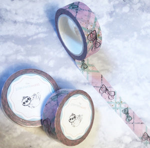 WINTER PLAID PASTEL PINK AND BLUE BOW WASHI - The Planner's World