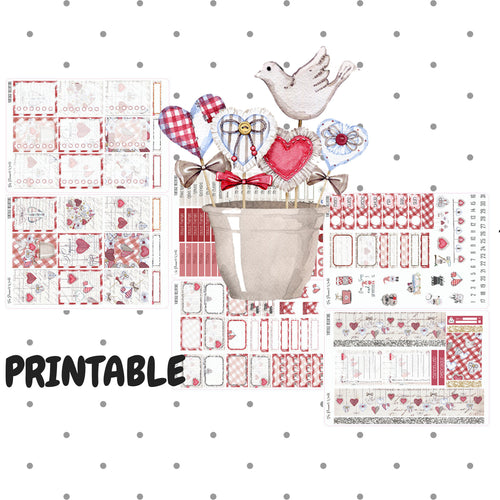 Vintage Valentine Deluxe Kit - Printable sticker kit - printable stickers - digital stickers - downloadable - instant digital download - The Planner's World