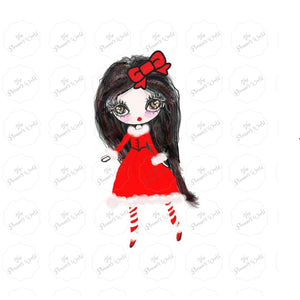 Candy cane fashion girl die cut sticker - The Planner's World