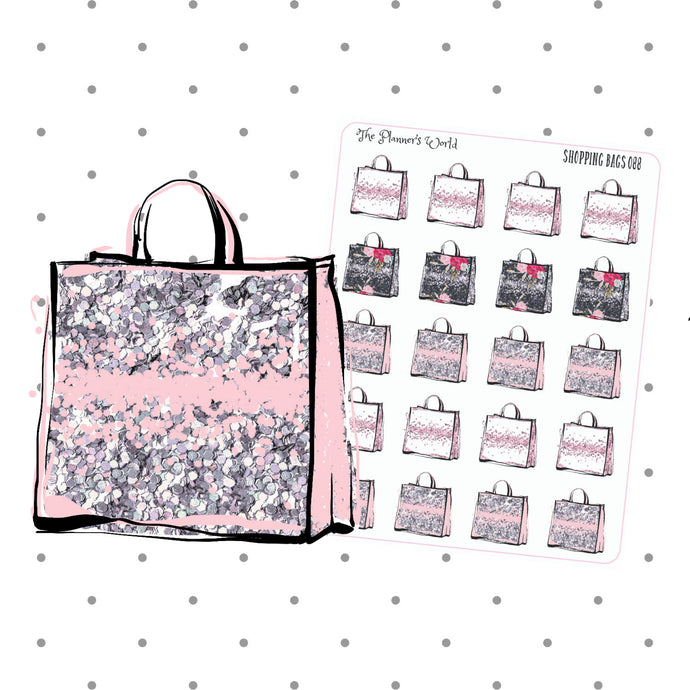 shopping bag planner stickers - shopping stickers - shopping planner stickers - cute stickers - shop til you drop stickers - black friday - The Planner's World