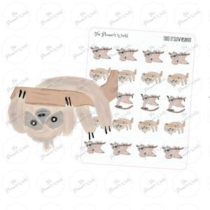 Sloth Stickers - Take it Slow - What's your hurry - planner stickers - lazy stickers - lazy day stickers - hanging sloth - The Planner's World
