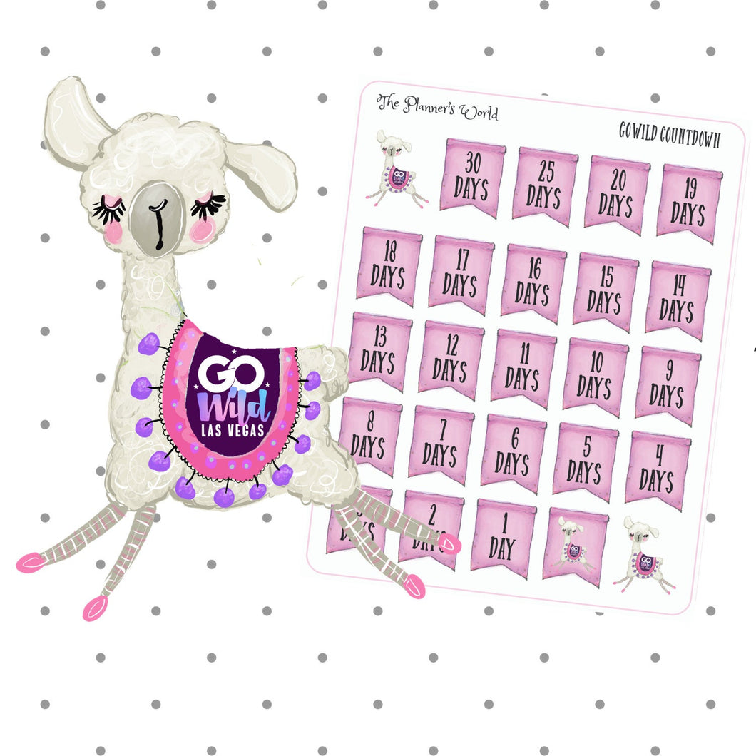 Go wild Vegas 2019 Countdown Stickers - The Planner's World