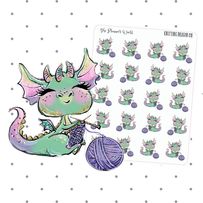 Knitting Dragon stickers - The Planner's World