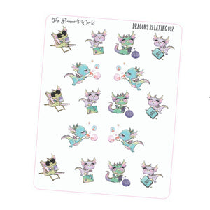 Dragons Relaxing Planner Stickers - Me time sticker - The Planner's World