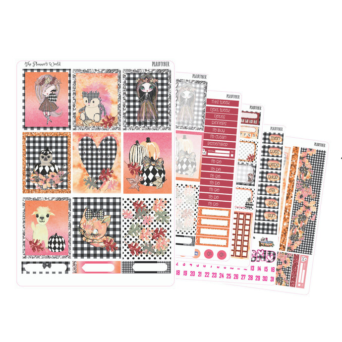 Plaidtober Weekly deluxe vertical Sticker Kit - The Planner's World