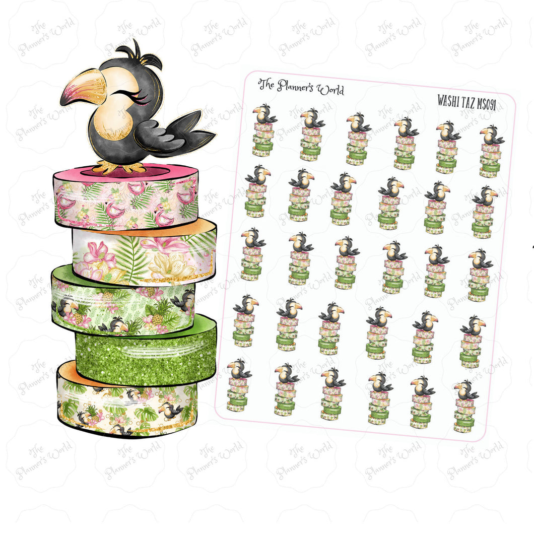 Washi Taz Toucan planner stickers - The Planner's World