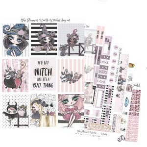 Witches Day Out - Weekly Sticker Kit - Vertical sticker kit - weekly planner stickers - vertical weekly kit - witch - The Planner's World