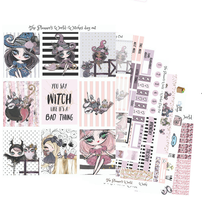 Witches Day Out - Weekly Sticker Kit - Vertical sticker kit - weekly planner stickers - vertical weekly kit - witch