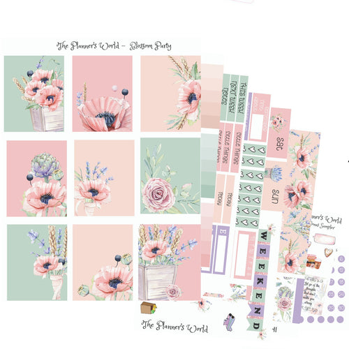 Blossom Party floral Weekly Vertical Stickers - The Planner's World
