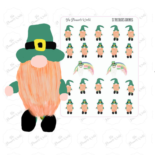St Patricks Gnome Stickers - gnome planner sticker - st. Patricks day stickers - gnome sticker - swedish gnome sticker - handdrawn sticker - The Planner's World