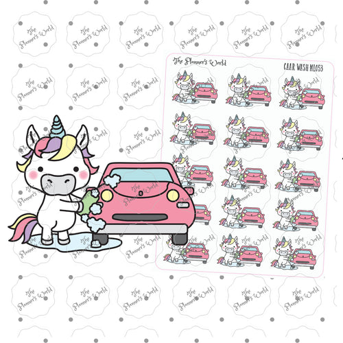 Unicorn car wash planner sticker - Cute Stickers - Unicorn Stickers - wash car stickers - Kawaii Stickers