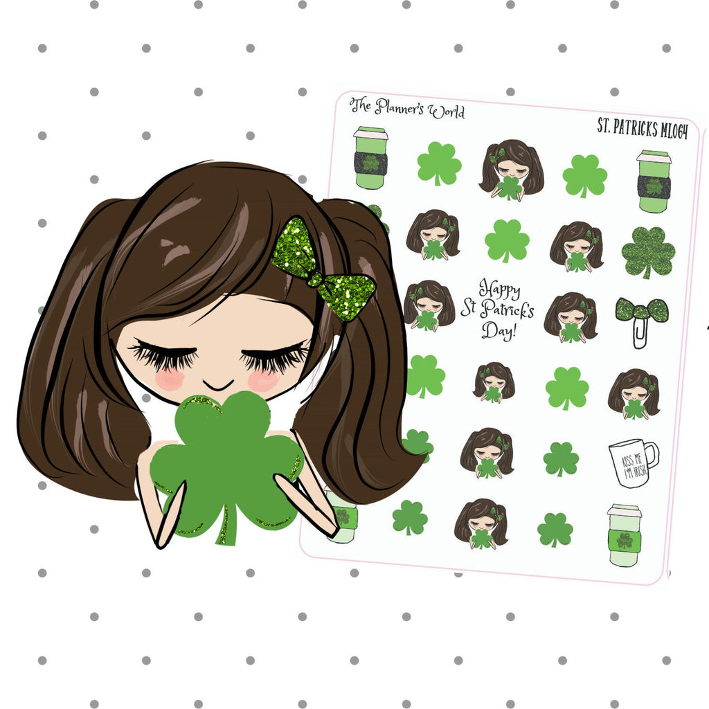 St Patricks Day - Stickers - irish - holiday - planner stickers - planner sticker - shamrock - planner girl - cute girl - planner doll - The Planner's World