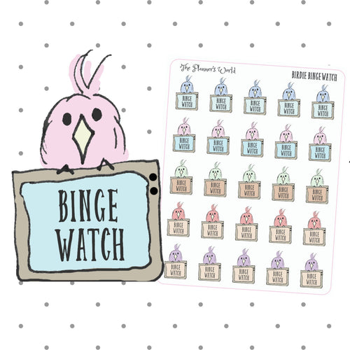 Binge Watch tv planner Stickers -  Featherby character stickers - The Planner's World