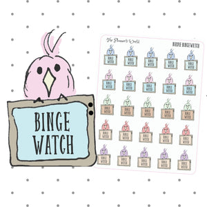 Binge Watch Featherby tv planner Stickers - The Planner's World