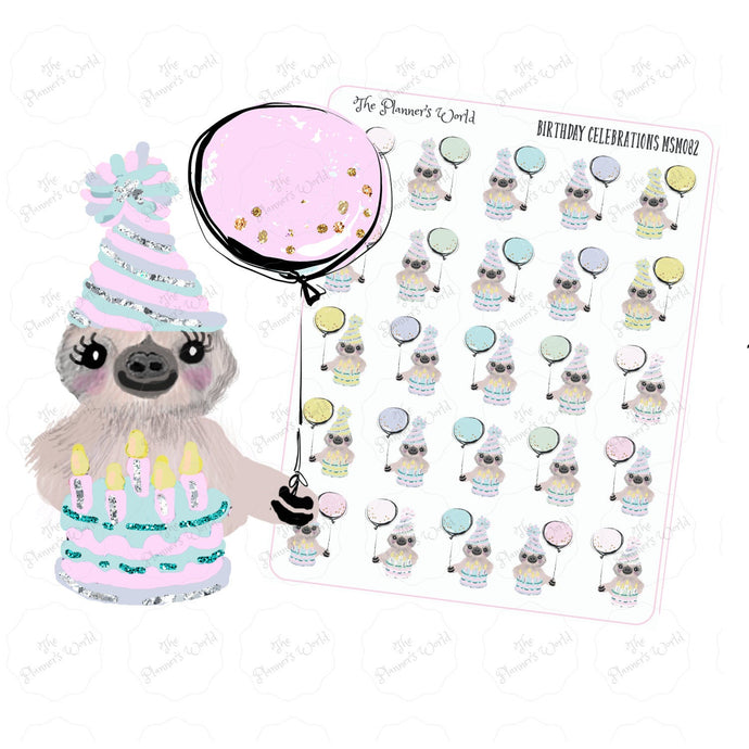 Birthday Stickers Mona the Sloth - The Planner's World