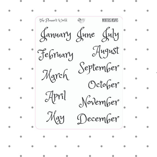 Month - Stickers - Month planner stickers - Date cover stickers - calendar months - Planner Stickers - Headers - functional planner stickers - The Planner's World