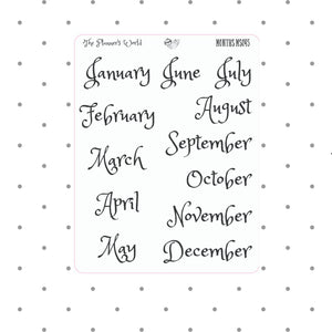 Month - Stickers - Month planner stickers - Date cover stickers - calendar months - Planner Stickers - Headers - functional planner stickers