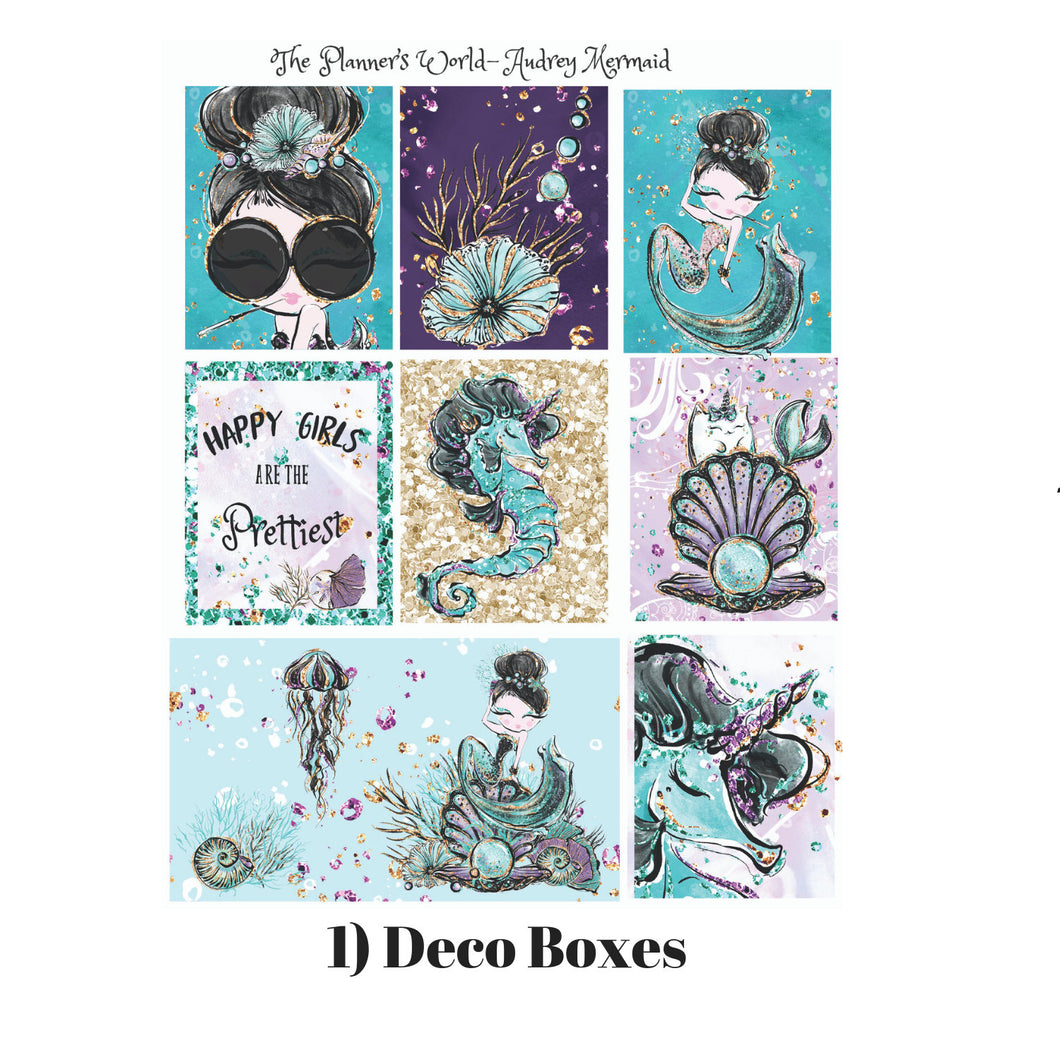 Tiffanys under the Sea Deco Boxes - mermaid Sticker - weekly planner kit - vertical planner kit - vertical stickers - Mermaid planner - The Planner's World