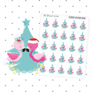 Flamingo Navidad - tropical christmas planner sticker - flamingo stickers - cute stickers - holiday planner stickers - christmas stickers