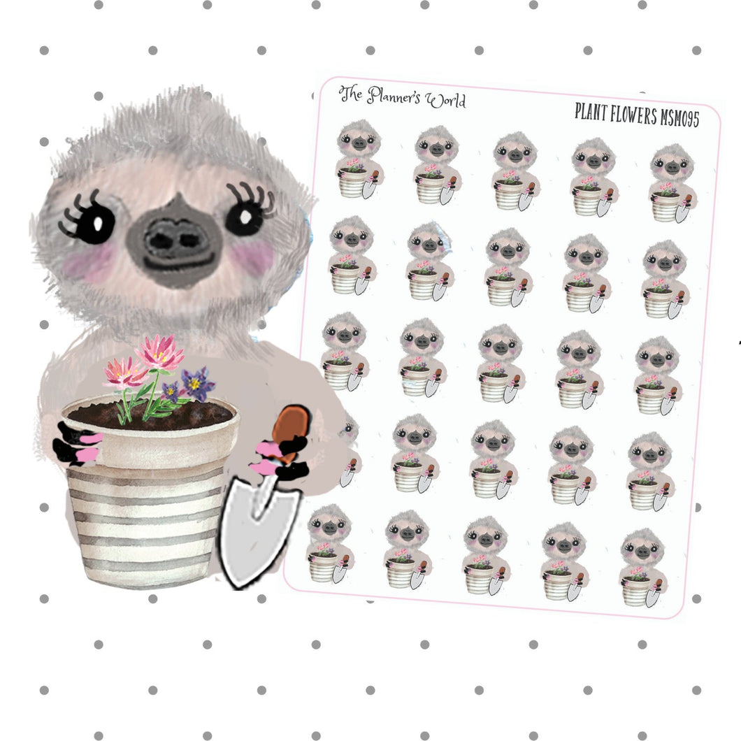Sloth Planting Flowers - chore sticker - sloth Sticker - gardening Sticker - planner stickers - garden sticker - summer - yard work stickers